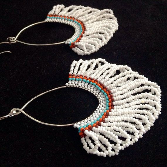 Native American Inspired Earrings. Large Beadwork Earrings. Seed Bead Earrings. Large Beaded Hoops on Etsy, $50.00