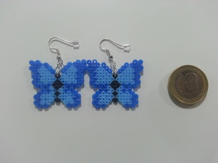 Butterfly earrings hama mini beads by Sevihama