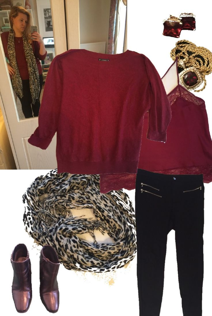 Petite Curvy | Garnet Red, Black & White. Jumper, Dunnes. Camisole, Debenhams. Trousers, Zara. Boots, M&S. Scarf, Charity Shop. Earrings, Necklace, Overstock.com.