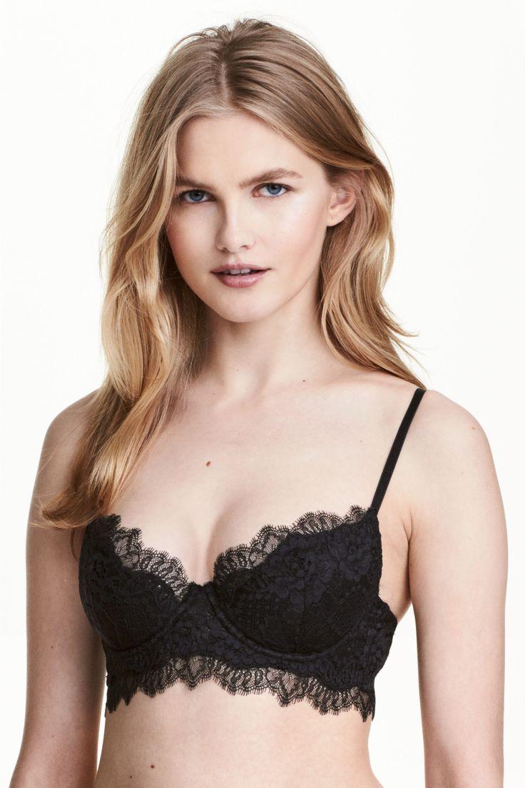 H&M czarny stanik koronkowy, niedostepny