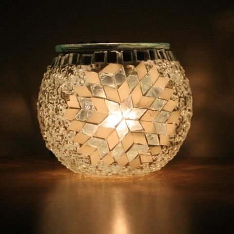 White Star Turkish Mosaic Tea Light Holder
