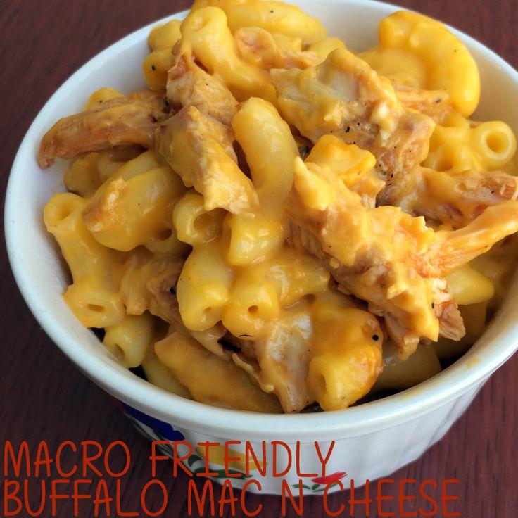 Buffalo Chicken Mac n Cheese 478 calories, 11g fat, 48g carbs, 48g protein!