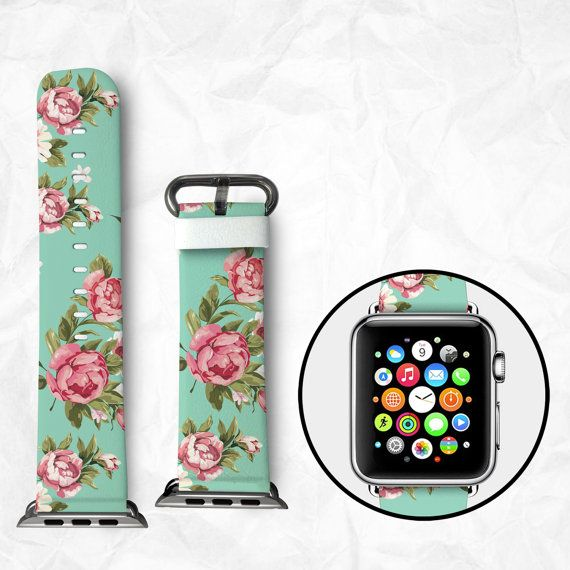 Apple watch band, Apple watch strap, Calf leather apple watch band, iWatch band, 38mm adapter, 42mm adapter, Wearable gift, Beautiful Rose