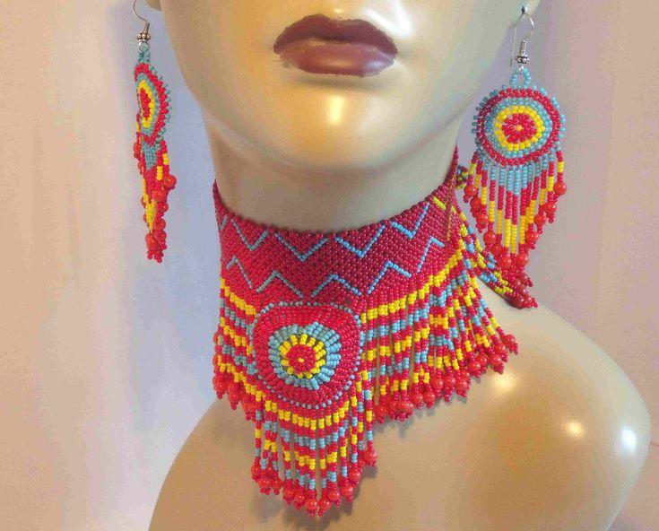 Choker Set Native American Style Beaded Multicolor! Love this set! So beautiful.