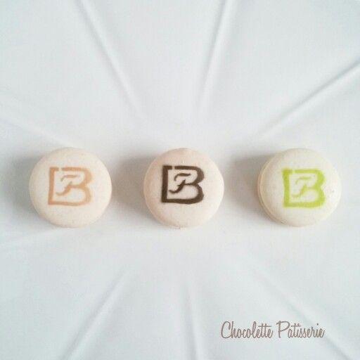 Mini macarons with company logo