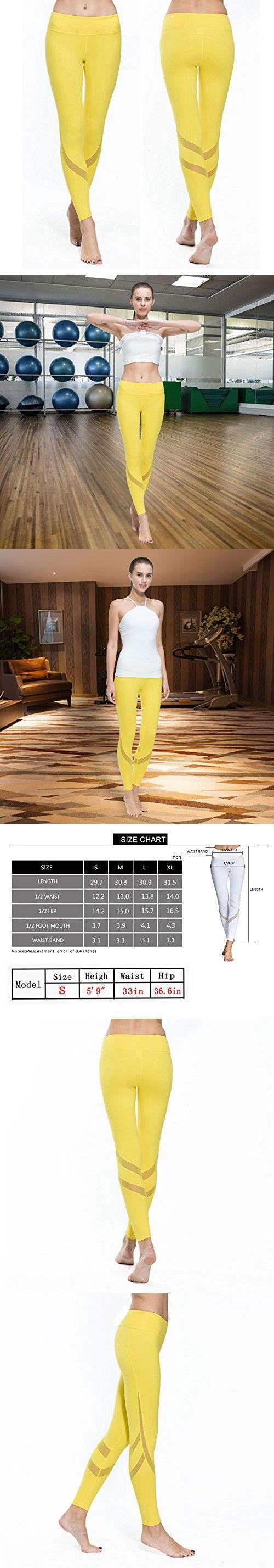 Women Yoga Pants Leggings with Mesh Compression Workout Gym Capri Yoga Pants Yellow Hidden Pocket Ninth NK9-002 (M, Yellow)