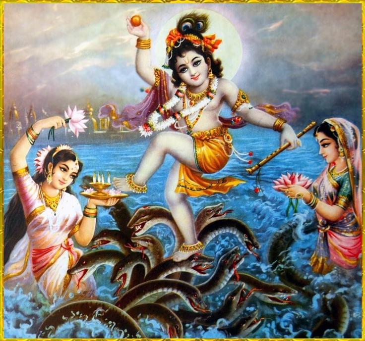 In the Yamuna river, Krishna dances on Kaliya's hoods as Kaliya's wives beg…