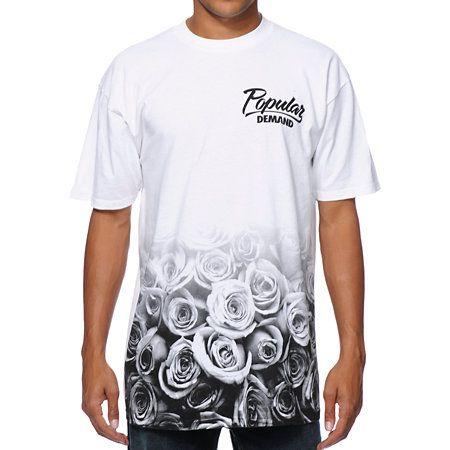 Popular demand rose fade white t shirt logos popular for T shirt on demand