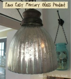 Faux Mercury Glass Pendant using Krylon's Looking Glass Spray Paint from Simplicity In The South
