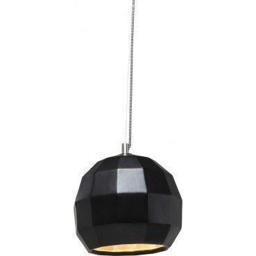 #Luminaire de forme #rétro avec un abat-jour graphique, revisité et modernisé grace à son look industriel donné par le métal #noir mat, l'intérieur de couleur clair contraste et permet une belle diffusion de la lumière.  Suspension Rythem Noir Kare #Design