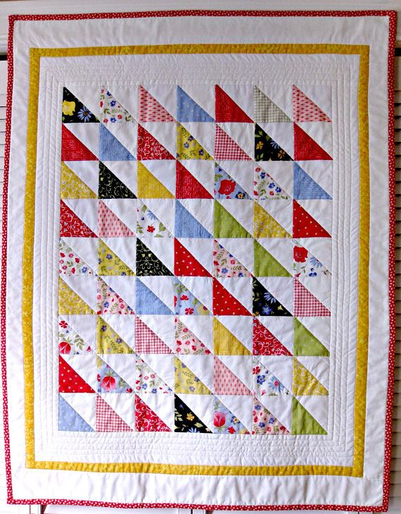 Baby Quilt Multi Color Triangle Pattern