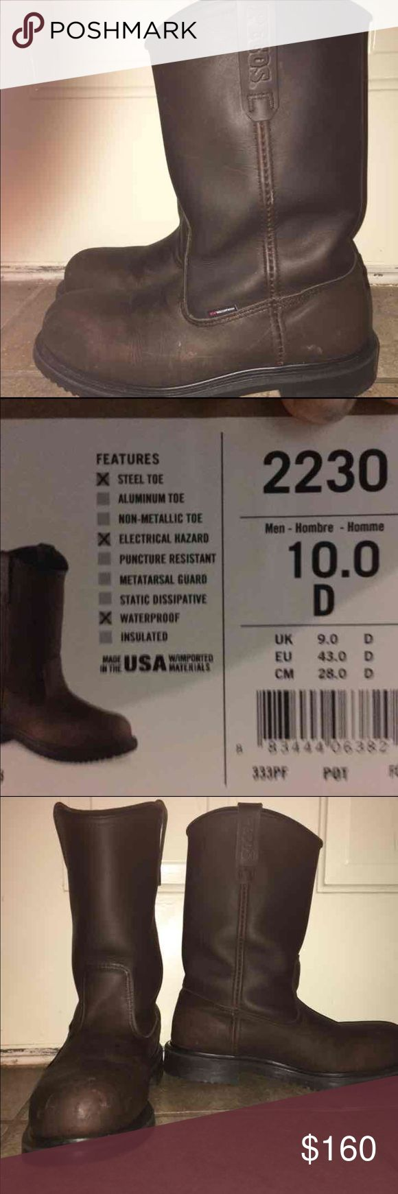Like new. Mens Red Wing Boots Size 10. Wore for a week but prefers a different brand. Paid $265. My lost. Info of boot in 2nd pic. Firm on price. Cheaper on Ⓜ️ercari. Red Wing Shoes Shoes Boots