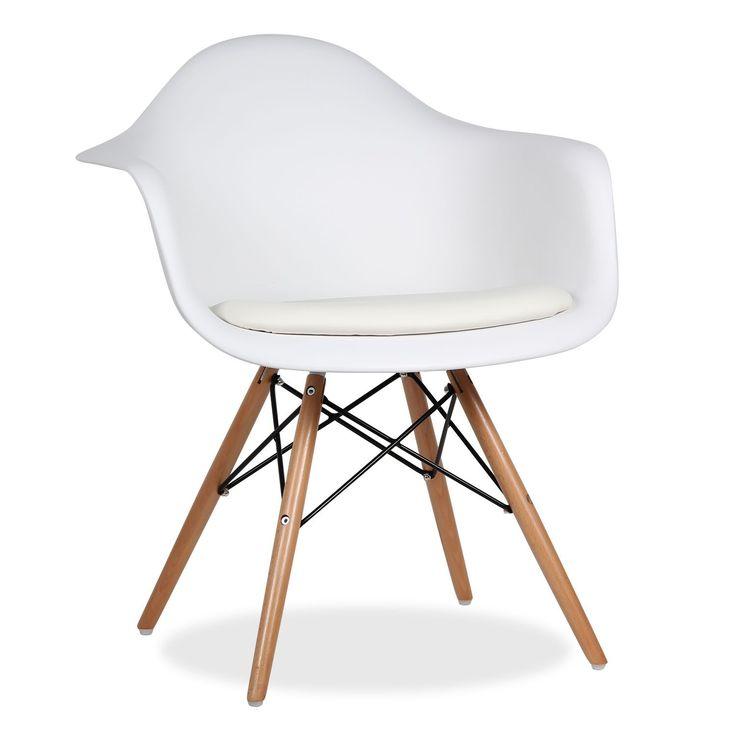 Stuhl in aktuellem Design für Wohn- oder Esszimmer.      Tower-Stil, die Form der Beine erinnert an die des Eiffelturms.      Sitz und Rückenlehne aus Polypropylen.      Beine aus Buchenholz, Gestell aus Stahl.      Höhe der Armlehnen: 62 cm.      Verfügbar in Weiß oder Schwarz.  Moderner Design-Stuhl mit Beinen aus Naturbuchenholz, Sitz und Rückenlehne mit Armlehnen in derselben Struktur aus hochqualitativem Polypropylen-Plastik.  Der Sitz verfügt über ein integriertes Kissen mit PU-Be...