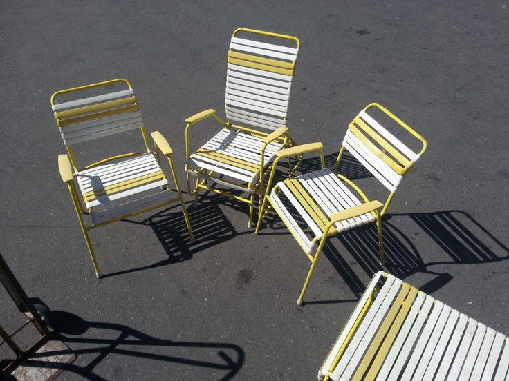 Vintage 60s 70s Metal Vinyl Strap Patio Lawn Chair Lounge ...