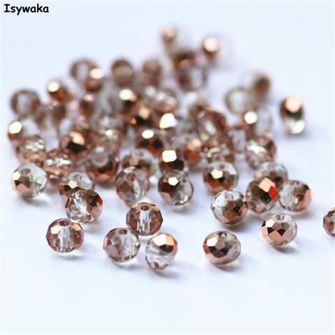 [EBay] Isywaka Clear Rose Golden Color 4*6Mm 100Pcs Rondelle Austria Faceted Crystal Glass Beads Loose Spacer Beads For Jewelry Making
