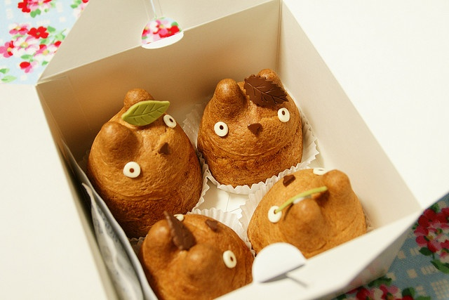 Totoro Cream Puffs from Shiro-Hige's Cream Puff Factory in Tokyo