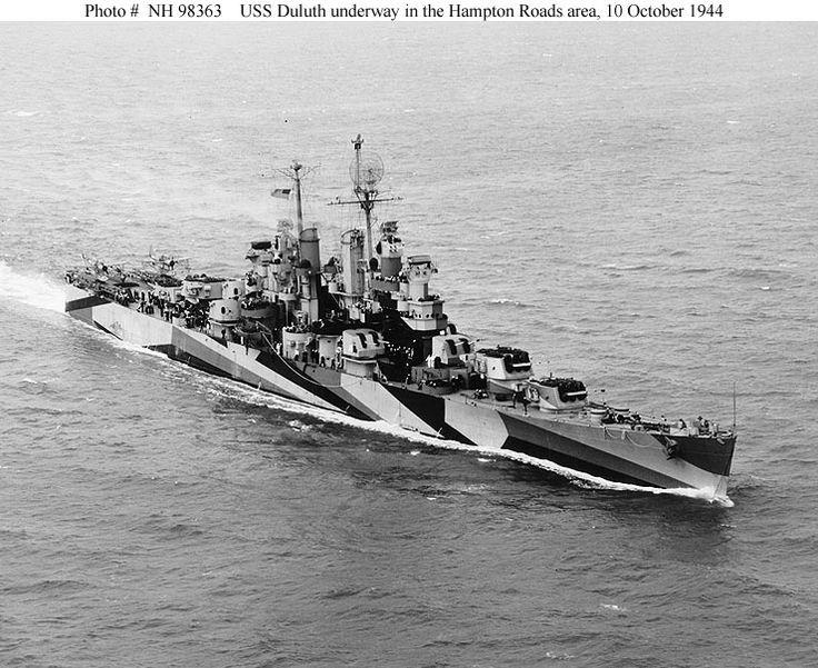 Cleveland class light cruiser USS Duluth (CL-87) off Hampton Roads, Virginia, 10 October 1944.