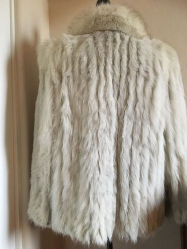 White-Fox-Fur-Jacket-Coat-Vintage-Saga-Fox-50s-Starlet-Design-M