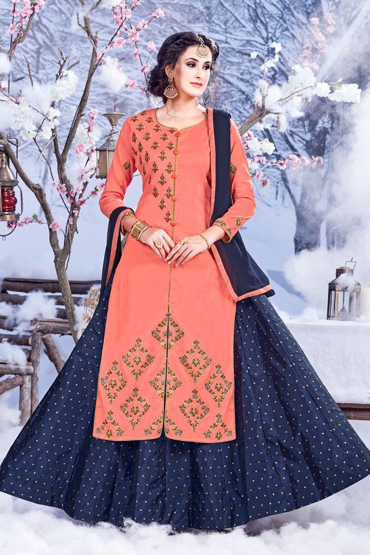 Peach-Designer-Festival-And-Wedding-Wear-Indo-Western-Style-Salwar-Kameez-With-Embroidary-Work-Sareen-Riddi-Siddhi-Fashion-Catalog-13306