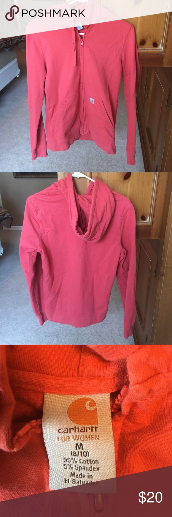 Carhartt jacket Carhartt lighter weight jacket. Great for fall. Pink/coral color. Super comfy. Only worn a few times. No stains. Smoke free home. Carhartt Jackets & Coats