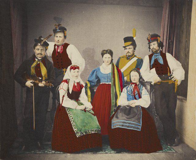 Hårdh Carl Adolph, 1866: Suomen Taiteilijaseuran vuosijuhla, Folkdanslag Österbotten; Vuosijuhla pidettiin 5.2.1866. (Museovirasto)
