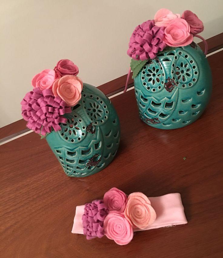 Headband with felt flower..