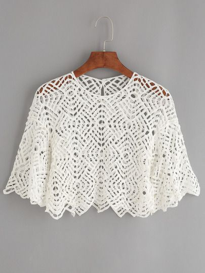 White Hollow Out Crochet Poncho Top