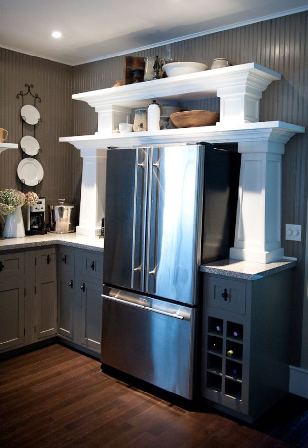 Architectural Inspired Open Shelving Instead Of Traditional Upper Cabinets.  Beadboard Counter To Ceiling. Cynthiaweber