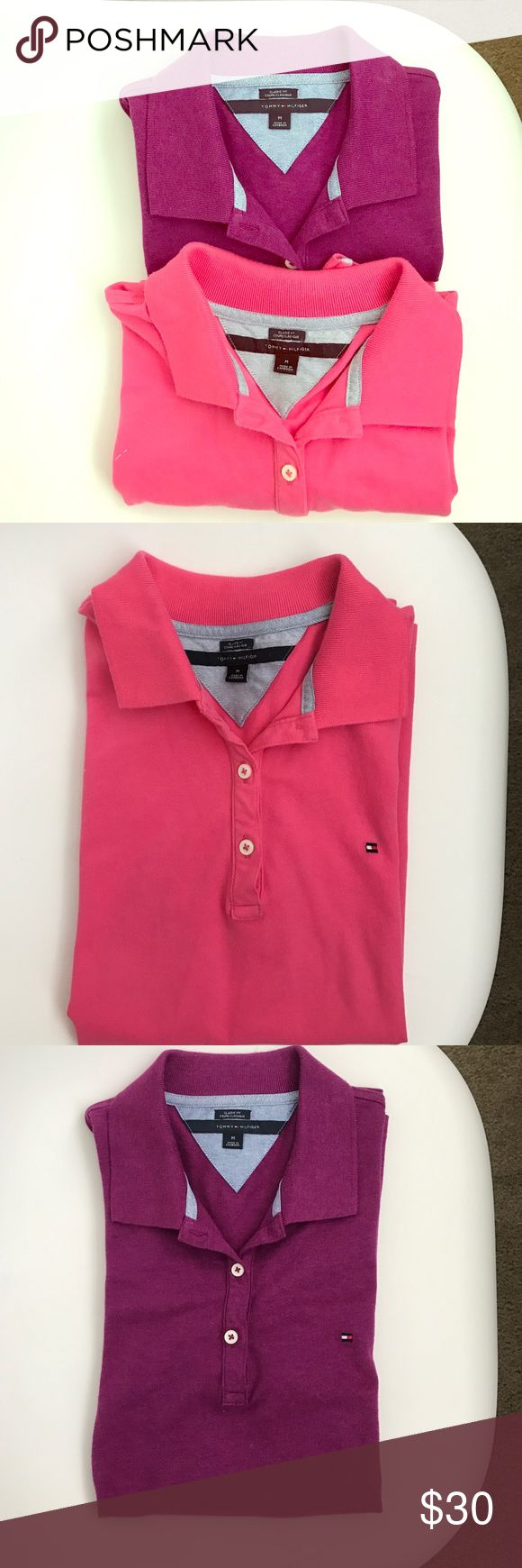2 like new polo shirts 👚 ! Two polo shirts from Tommy Hilfiger, purple one never used and pink one used once, classic fit, a must have in the wardrobe! :) Tommy Hilfiger Tops Tees - Short Sleeve
