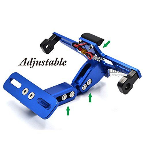 Adjustable License Plate Frames Holder Bracket With Plate light LED  https://www.amazon.co.uk/BJ-Global-Motorcycle-Aluminum-Adjustable/dp/B01MDUYA97/ref=lp_12019928031_1_2?srs=12019928031