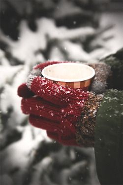 ❄ red mittens enjoy holding a hot mug of joy in the winter snow.