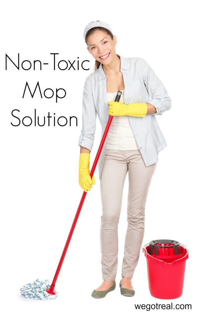 Homemade Non-toxic Mopping Solution - vinegar, hot water, and citrus essential oil