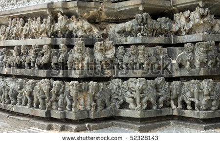 stock photo : layered carvings around the famous ancient belur temple in karnataka state, india. Construction of the Chenna  Keshava Hindu temple began in 1116 AD, and took more than 100 years to complete.  Image ID: 52328143