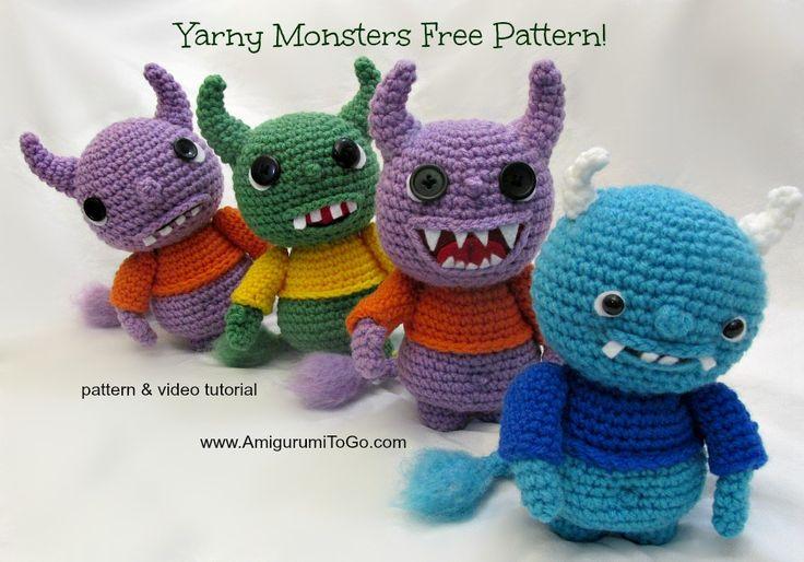 Yarny Monsters - Free Amigurumi Pattern and Video here: http://www.amigurumitogo.com/2014/08/yarn-monster-pattern-free.html