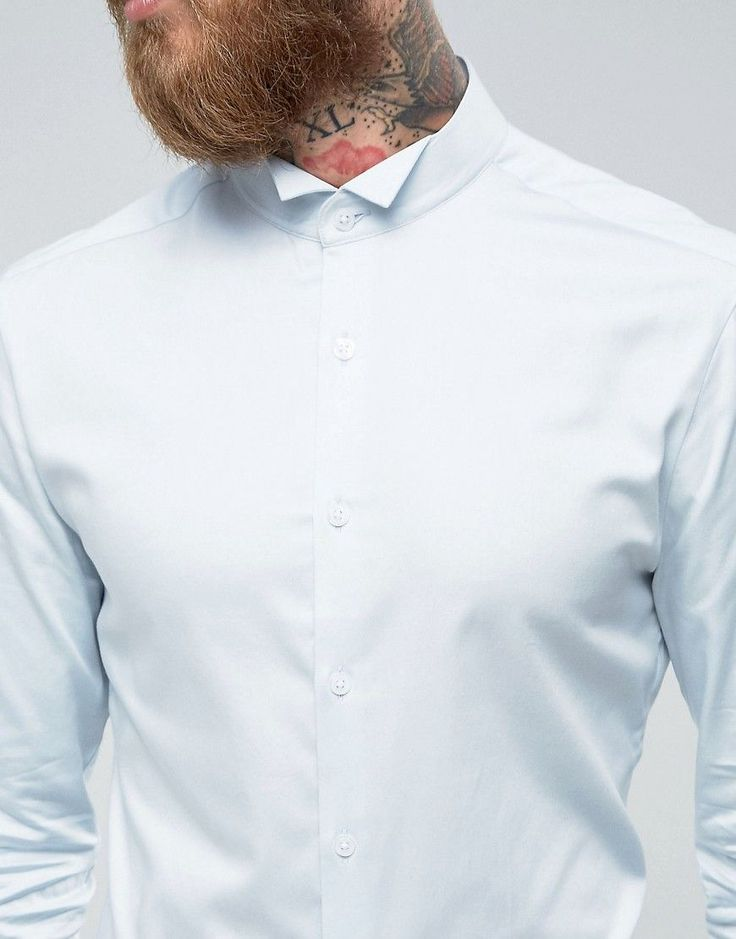 ASOS Wedding Skinny Sateen Shirt In Blue With Wing Collar And Double C