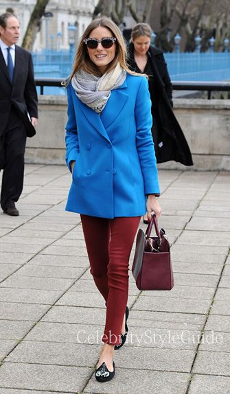 Seen on Celebrity Style Guide: Olivia Palermo wore this bright blue coat with red skinny jeans going to the Anya Hindmarch Fashion Show during London Fashion Week on February 18 2014 in London Get It Here: http://rstyle.me/~1AyQi