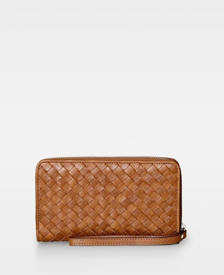 DECADENT Woven zip wallet Cognac