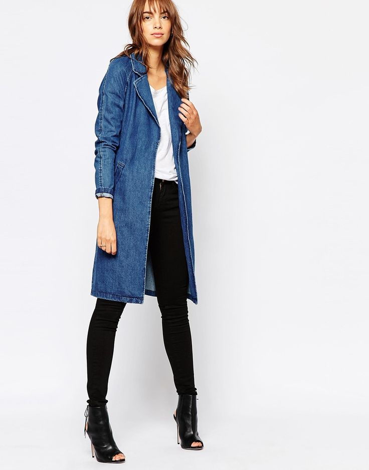 Image 4 of Vero Moda Belted Denim Duster Coat