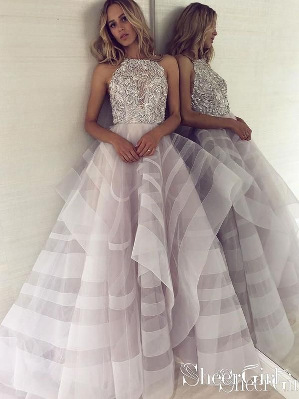 a29196434e87 Backless Shiny Silver Beaded Ball Gown Prom Dresses Multi-Layered Prom Dress  ARD1831-SheerGirl