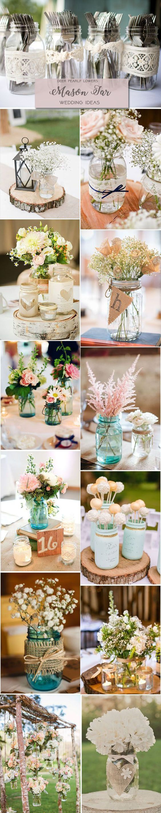 Rustic country wedding ideas - mason jar wedding centerpieces & decor / http://www.deerpearlflowers.com/rustic-wedding-themes-ideas/