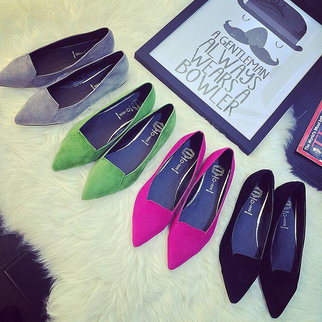 NOUVEAU arrivent Femmes Chaussures sexy bout pointu Femme Appartements vente chaude Chaussures femmes daim Confortable dames Appartements sapatilhas femininos