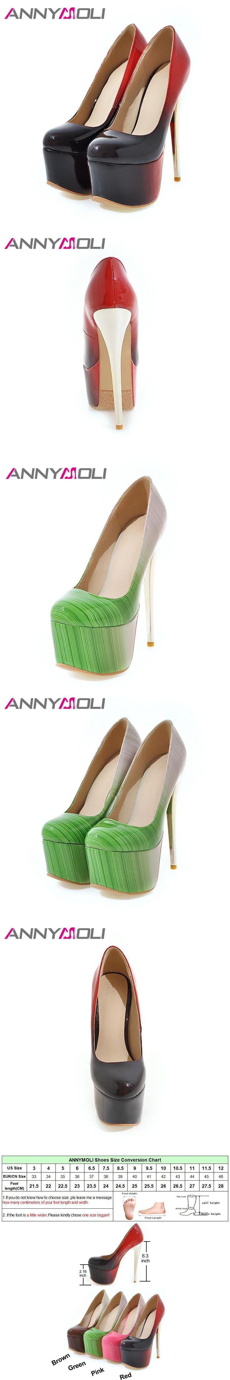 ANNYMOLI Women Pumps Extreme High Heels Platform Women Shoes Shallow Gold Heel Sexy Ladies Shoes Plus Size 33-46 2017 Autumn New