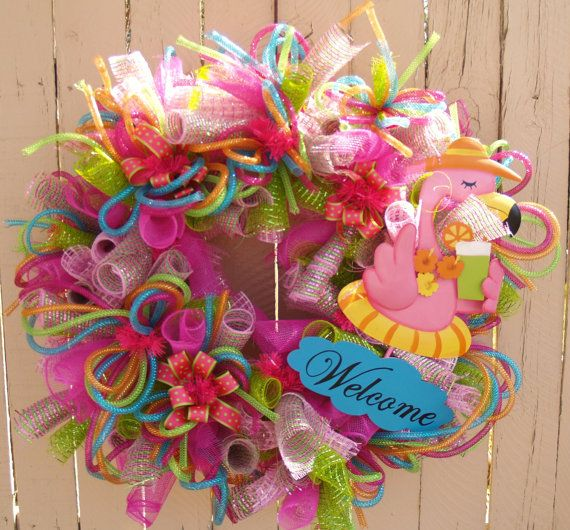 Summer Flamingo Deco Mesh Wreath Wreaths Wreaths Deco