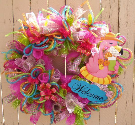 Summer Flamingo Deco Mesh Wreath Wreaths Wreaths Deco