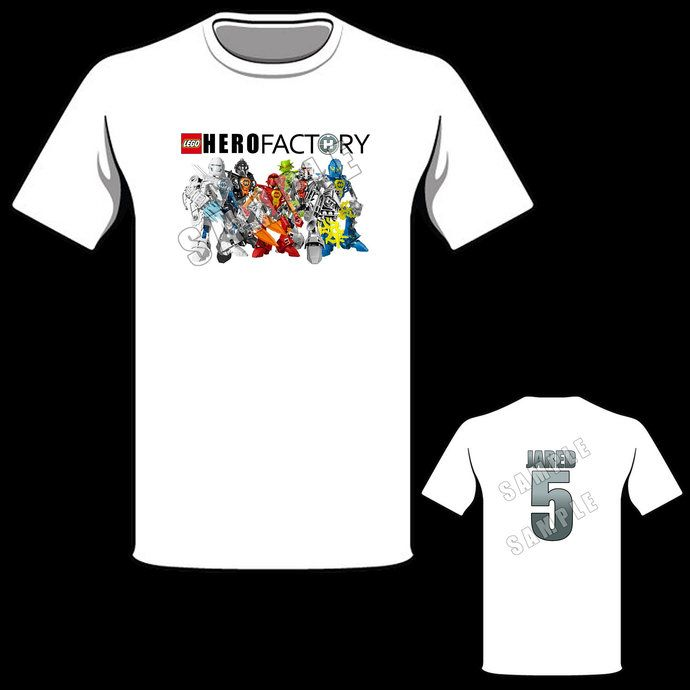 Lego hero factory personalized t shirt hero factory for Where can i order custom t shirts