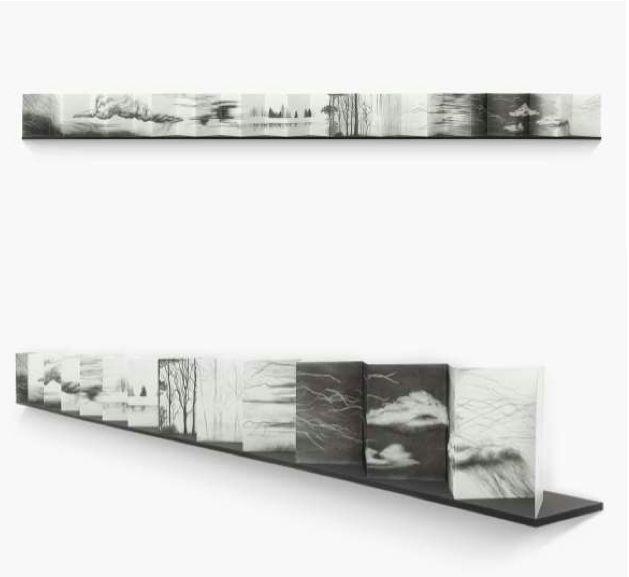 YIA ART FAIR #5 - 2015 / Le Carreau du Temple (Paris) Oct 22 - 25 // GALERIE GRAPHEM (PARIS, FRANCE) ARTIST: NICOLE WENDEL Leporello (1/2013), graphite on paper, 17 x 230 cm / Courtesy of Galerie Graphem