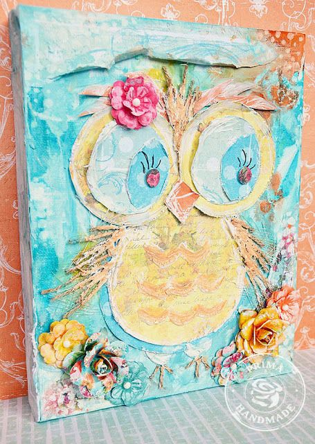 adorable mixed media owl by Stacey Young love the bright colors