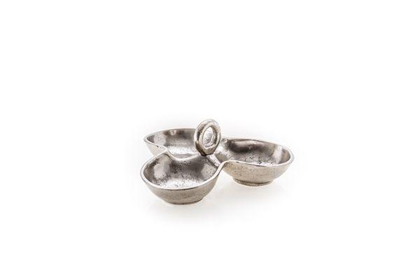 Casa Uno Aluminum Three Section Dish Dinnerware Serveware Antiqued Silver - NEW