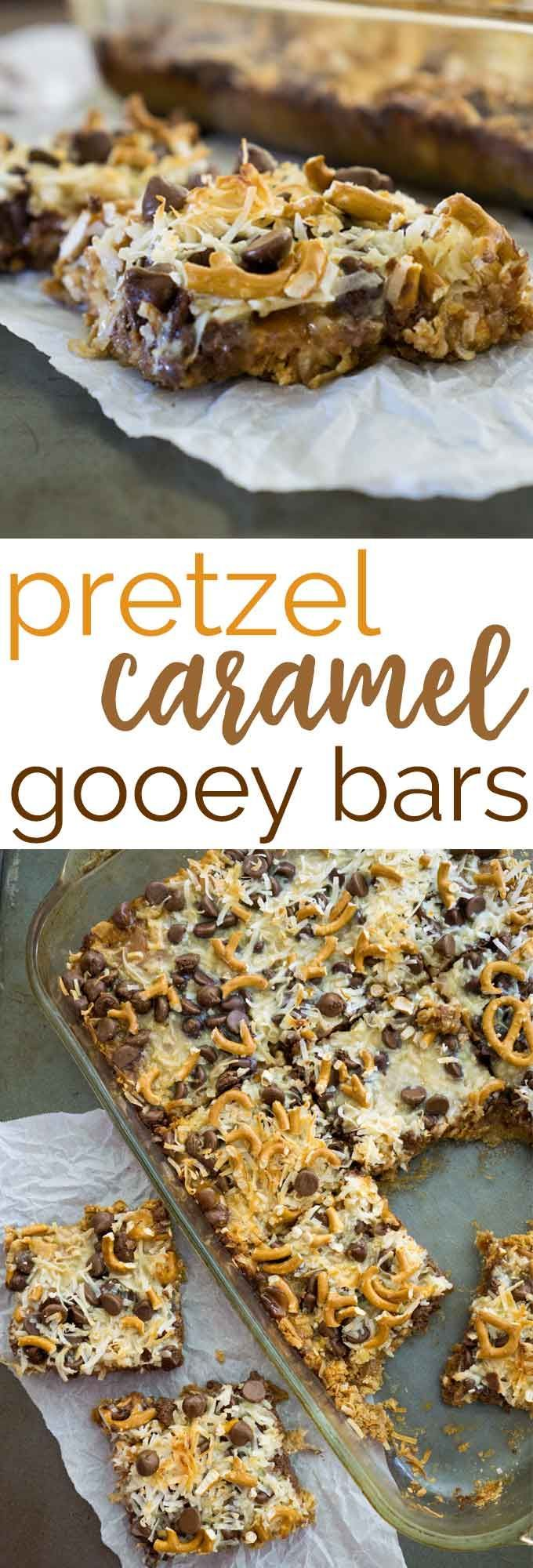 Ooey gooey delicious pretzel caramel bars with chocolate chips and coconut-this is such an easy dessert and always a HUGE hit when I make them!