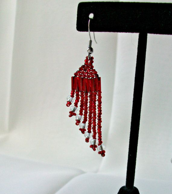 Red Beaded Silver Accent Dangle Earrings  Gifts by CallunaMuse, $18.00